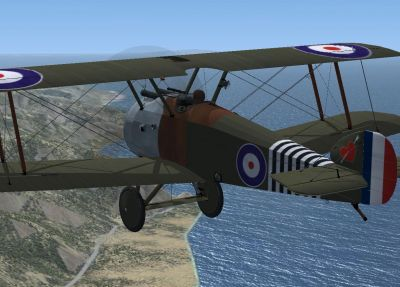 Screenshot of Sopwith Camel in the air.