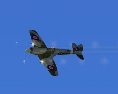 Screenshot of Spitfire in flight, firing guns.