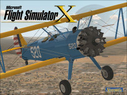 Screenshot of a blue and yellow Stearman PT-13A.