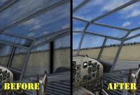Before and after screenshots of windscreen texture fix.
