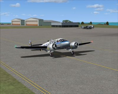 Screenshot of Transgabon Beech D-18s on the ground.