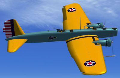 Screenshot of USAAC Boeing B-9 in flight.