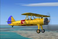 Screenshot of USN Stearman in flight.