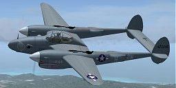 Screenshot of grey P-38 Lightning in flight.