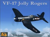 Screenshot of VF-17 Jolly Rogers Vought F4U-7 Corsair in flight.