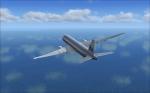 B777 climbing after a breathtaking takeoff from Sint Maarten