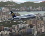 Lufthansa A380 taking off from Hong Kong