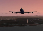 Boeing 747-800 leaving Brisbane YBBN  International Runway 1 sunset background