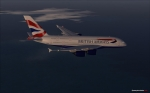 British Airways A380 over sea