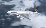 Lufthansa A380 over ocean