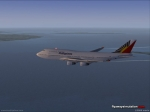 PAL 747 over islands