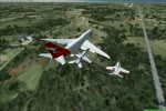 B747 QANTAS WITH ESCORT LANDING