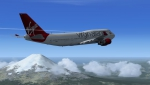 Virgin 747-800 over Mt Fujiama