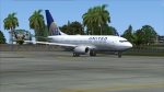 United Airlines 737 in Guam (screenshot from FSX).