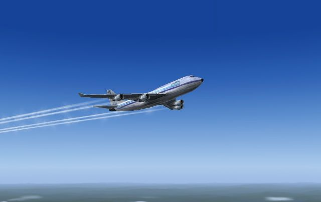 747F flying over Vietnam at FL330