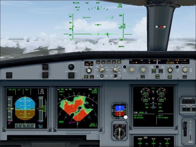 A318 Cockpit entering clouds