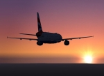 Airbus A319 sunset silhouette