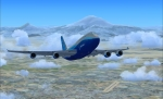 Boeing 747 over Yerevan after takeoff