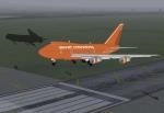 Braniff International 747 leaving a shadow