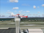 Bellanca Aircruiser over airport