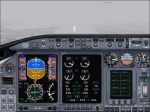 CRJ-200 with LearJet panel making IFR approach in winter