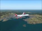 Virgin A340 flying over Hong Kong