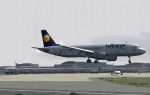 Lufthansa in rain before landing