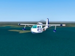 Republic RC3 SeeBee Flying over lake