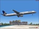 757-300 over St Maarten Beach