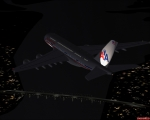 American Airlines over Oakland