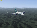 AirTran A380 over mountains
