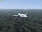 AirTran A380 over mountains