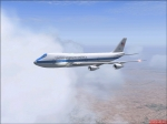 The E-4B flying from Edwards AFB