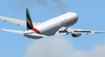 Emirates 777-300 banking to the right