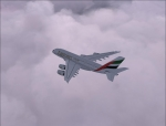 A380 Cruising Through Clouds