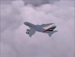 A380 Cruising Through Clouds