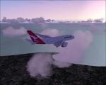 Qantas leaving Singapore.