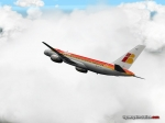 Iberia aircraft flying through clouds