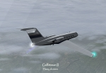 Gulfstream II flying in rain
